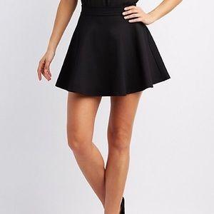 High Waist Black Skater Skirt, S || CharlotteRusse
